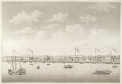 'View of Canton'.  Aquatint, drawn and engraved by James Moffat, published Calcutta 1802.